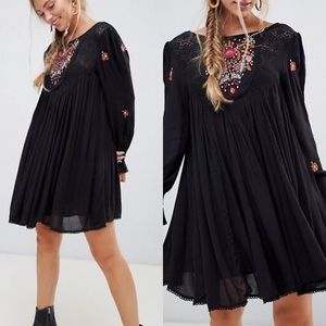 Black Embroidered Dress Mohave Smock Free People